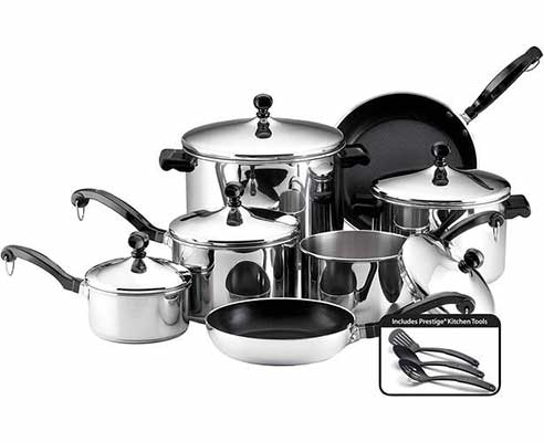 #8. Farberware 50049 15-Piece Stainless Steel Pans Set, Cookware Pots