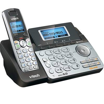 #7. VTech DS6151 2-Line Digital Answering System Cordless Phone System for Home (Black/Silver)