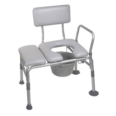 9. Drive Medical Padded Seat with Commode transfer bench, Gray