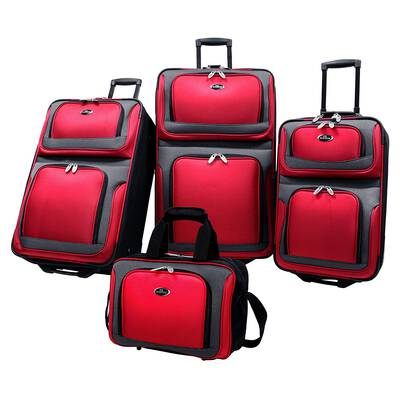 #7. U.S Traveler Lightweight EVA Foam Front 4-Pcs New Yorker Expandable Rolling Suitcase Set (Red)