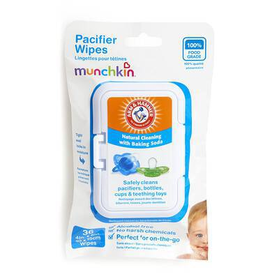 #1. Munchkin 36 Pack White Arm & Hammer Safely Clean Pacifiers Bottles & Cups 100% Food Grade