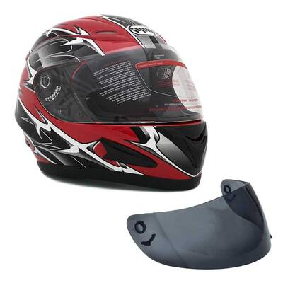 #8. MMG 118S Full Face Motorcycle Helmet with Free Smoked Shield and Clear Shield