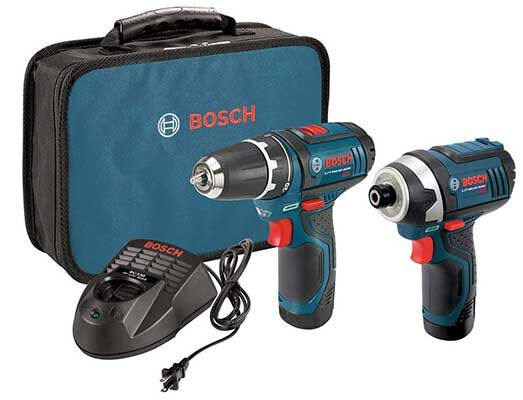 #1. Bosch 12-Volt Cordless Drill with 2 Lithium-Ion Batteries