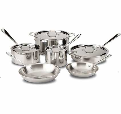 #1. All-Clad D3 8400000962 Stainless Pans and Pots Cookware Set