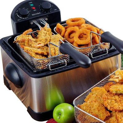 #3. Secura Stainless-Steel Triple Basket Electric Deep Fryer