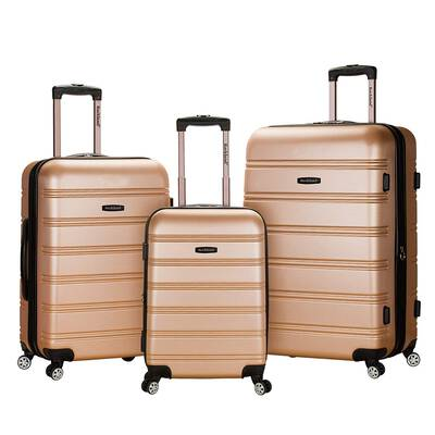 #9. Rockland Melbourne Spinner Wheel Hardside Expandable 3-Pcs Sturdy Luggage (Champagne)