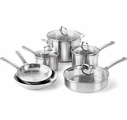 #3. Calphalon Classic 10-Piece Pans and Pots Cookware Set, Stainless Steel