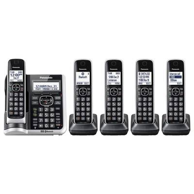 #1. Panasonic Link2Cell DECT 6.0 Bluetooth Cordless Expandable 5 Handset for Office or Home (Silver)