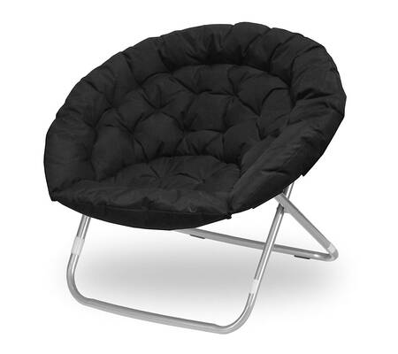 #10. Urban Shop Oversized 225 Max Weight Foldable Sturdy Comfortable Saucer Chair (Black)