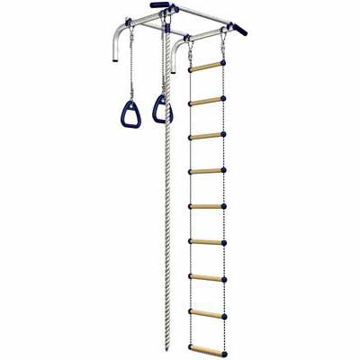 #8. Sportkid Indoor Training Wall-Mounted Pull-Up Bar Set for Chin w/Ladder & Gymnastic Ring