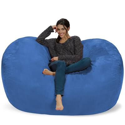 #3. Chill Sack Huge 6'' Memory Foam Furniture Soft Micro Fiber Cover Bean Bag Chair (Royal Blue)