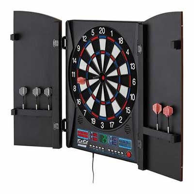 #3. Fat Cat Electronx Built-in Cabinet Dual Screen Scoreboard Classic Door Electronic Dartboard