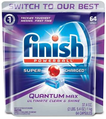 #1. Finish 64 Count Ultimate Clean & Shine Quantum Max Powerball Dishwasher Detergent Tablets