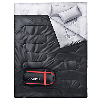 3. Ohuhu Sleeping Bag with two Camping Pillows