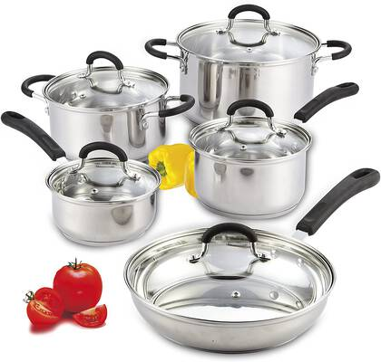 #9. Cook N Home Stainless Steel Cookware Set 10-Piece