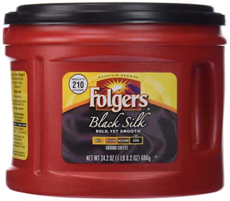 5. Folgers Black Silk Ground Coffee, 24.2 Ounce