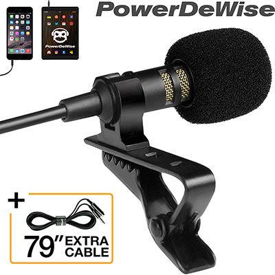 5. PowerDeWise Professional Lavalier Lapel Microphone  with Easy Clip System