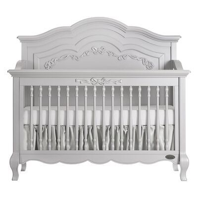 1. Evolur Grey Pearl 5 in 1 Hardwood Curved Convertible Crib with 3 Mattress Height Settings