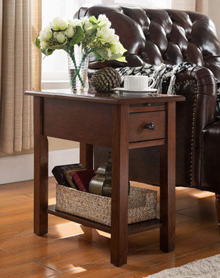 7. Onesource living Sutton side table with charging station in Espresso