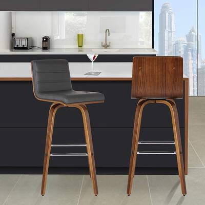 #7. Armen Living Vienna 26'' Barstool - Walnut Wood Finish