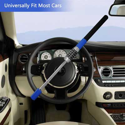 1. LC Prime Universal Steering Wheel Lock, Password Coded, Blue