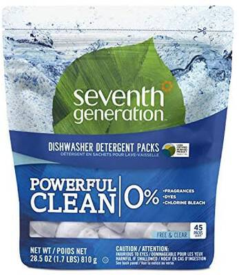 #10. Seventh Generation Convenient 2 Pack 45 Count Fragrance-Free Dishwasher Detergent Pack