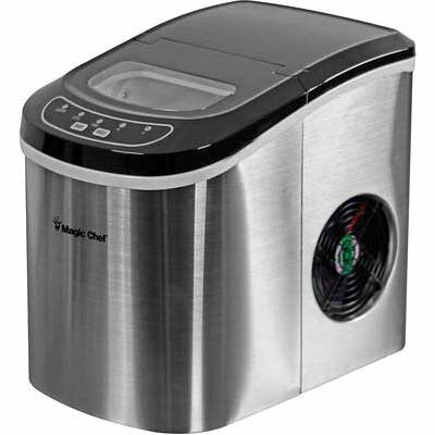 #9. Magic Chef 27lbs 9-Ice Cubes/Cycle Exterior Drain Portable Countertop Ice Maker (Silver)