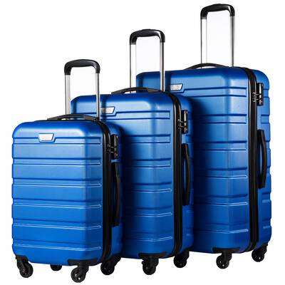 #5. Coolife 3-Pc Wheel Spinner Hardshell TSA Lock Lightweight Sturdy Interior Mesh Luggage (Blue)