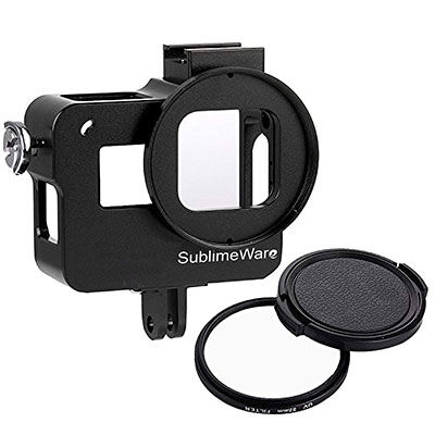 10. SublimeWear Aluminum Case Frame for GoPro with Microphone Mount- Black