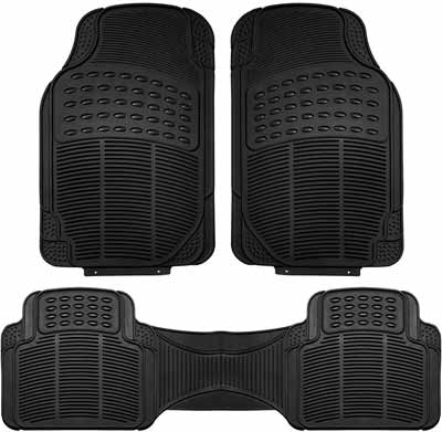 #10. FH Group F11306BLACK 3 Piece Heavy Duty All-Weather Floor Mats (Black)