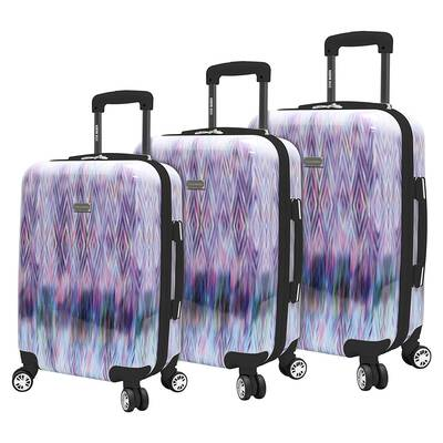 #2. Steve Madden 3-Pcs Spinner Wheels Lightweight Construction Extra-Durable Suitcase Set (Diamond)