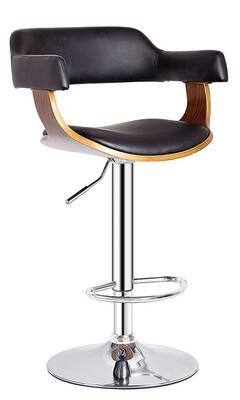 #9. AC Pacific Contemporary Lift-Adjustable Barstool w/ Padded Armrests, Wood
