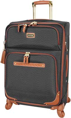 #8. Steve Madden Luggage 24'' Telescopic Push Button with Wheels & Handle Global (Black)