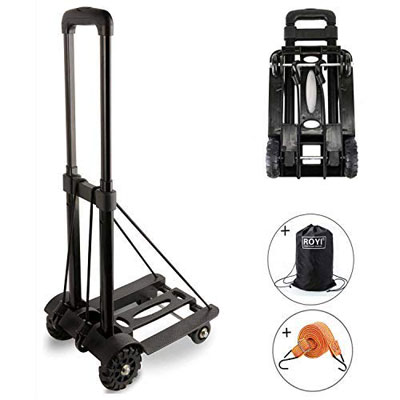 9. ROYI Folding Hand Truck, 4-Wheel Sturdy Construction for Luggage or Travel