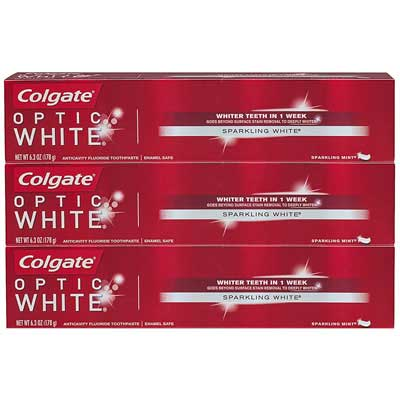 5. Colgate Optic Whitening Toothpaste (3 Pack)