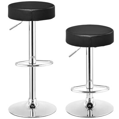 #10. COSTWAY Swivel Bar Stool - PU Leather and Height Adjustable (Black, 2 pcs)