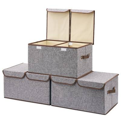 #4. EZOWare Large Foldable Storage CStorage Boxes for Kids Room and Nursery (Gray)