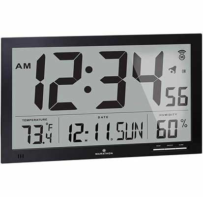 #2. Marathon Slim-Jumbo Atomic Digital Wall Clock w/Temperature Date & Humidity (Black)
