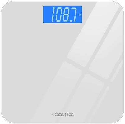 #8. Innotech® Digital Bathroom Scale w/ Backlit LCD (White)