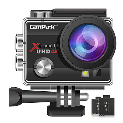 2. Campark ACT74 16MP 4K Action Camera with 2 Pcs Batteries & Mounting Accessories Kits