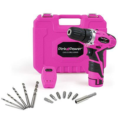 #8. Pink Power PP121LI Cordless Drill with Battery & Charger