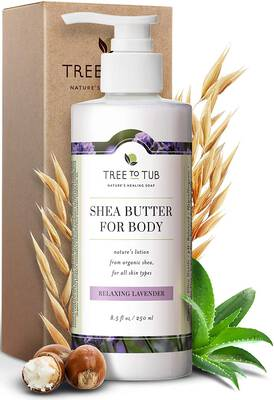 #8. Tree to Tub 8.5 Oz pH 5.5 Balance Lavender Organic Shea Butter Unisex Body Lotion for Dry Skin