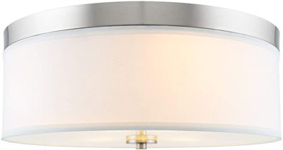 #4. Kira Home Walker 15-Inch Mid-Century White Fabric Shade 3-Light Ceiling Mounted Light
