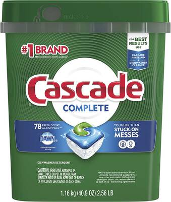 #3. Cascade 78 Count Fresh Scent Easy to Use Actionpacs Complete Dishwasher Detergent Pods