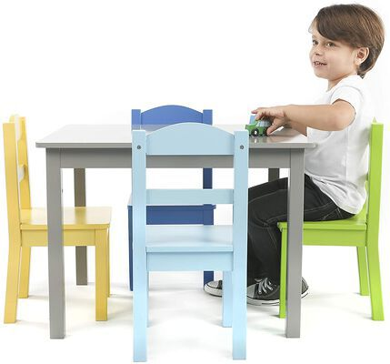 8. Humble Crew Kids' Wood Table & Four Chairs Set
