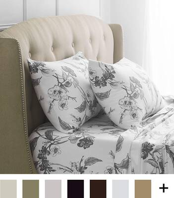 #8. Pinzon Signature Heavyweight Bed Sheet Set, Floral Graphite