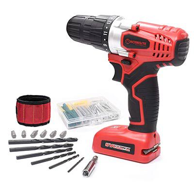 #7. WORKSITE 8V Cordless Drill with 1300mA Battery