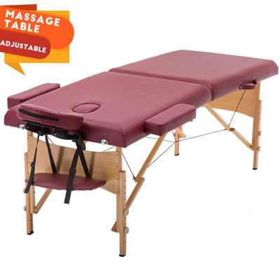1. BestMassage Portable Massage Table- Height Adjustable with a Carry Case