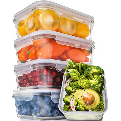 #7. Prep Natural Single-Compartments Glass Storage Containers