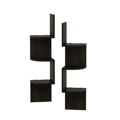 #9. FURINNO Rossi 3 -Tier Wall Mount Floating Corner Radial Shelf, Espresso